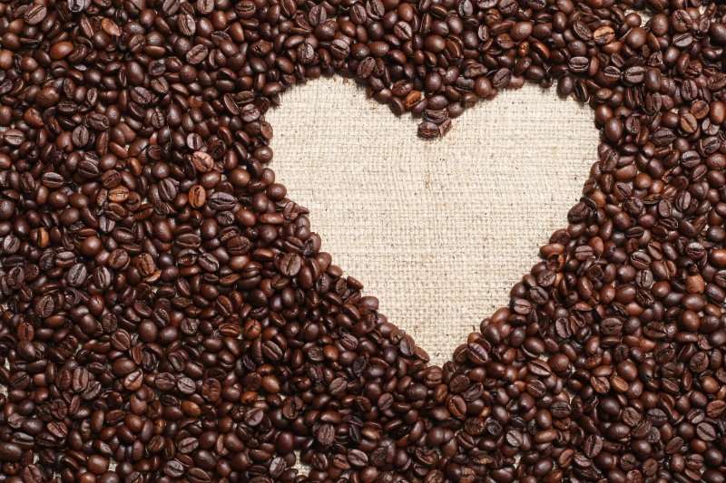 Heart Coffee Frame Made Of Coffee Beans